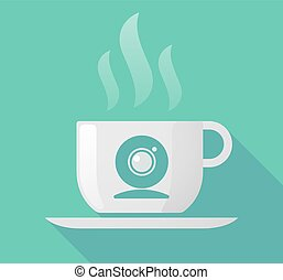 Long shadow cup of coffee with  a web cam