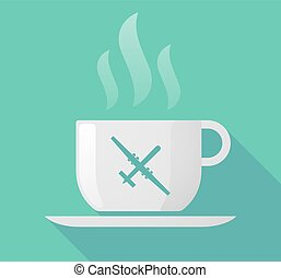 Long shadow cup of coffee with a war drone - Illustration of...