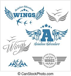Air Force shields and labels with wings isolated on white