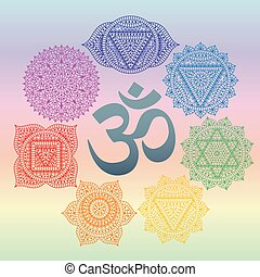 Set of seven chakras and symbol OM in the centre. Oriental...