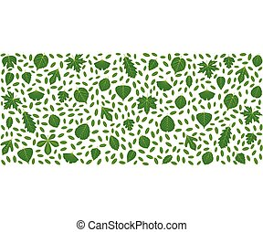Spring background made of different tree leaves Various...