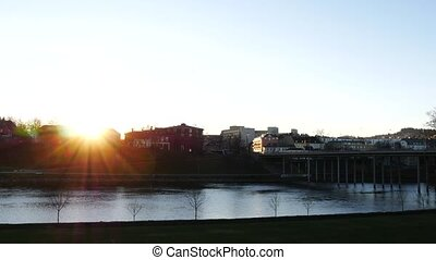 Trondheim. Image of sunrise in norwegian city of Trondheim...