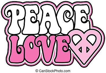 Peace and Love in Pink - Peace and Love text design with a...