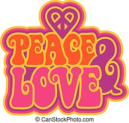 Peace & Love retro-styled outlined text design with a...