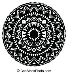 Tribal folk Aztec geometric pattern - Vector round pattern...