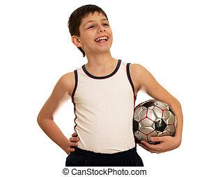 orgulloso, puño, fútbol, victoria