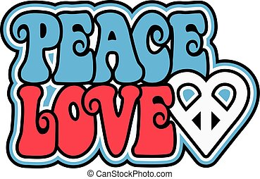 Patriotic Peace Love - Peace and Love text design with a...