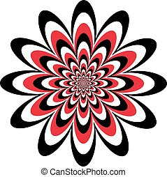 Op Art Flower in Red-Black-White - Floral optical illusion...