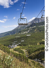 Cable car in Kasprowy Wierch peak in Tatra mountains, Poland...