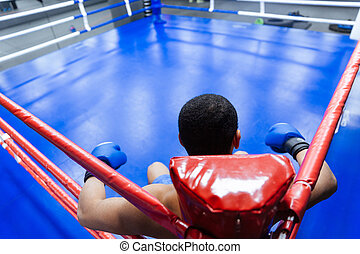 Boxer sitting in the corner of boxing ring - Back view...