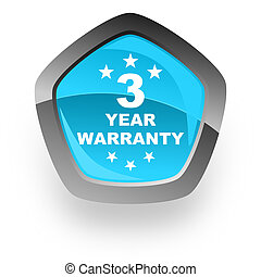 warranty guarantee 3 year blue metallic chrome web pentagon...