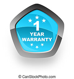 warranty guarantee 1 year blue metallic chrome web pentagon...