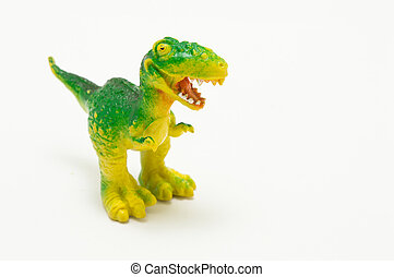 plastic dinosaur toy. over a white background