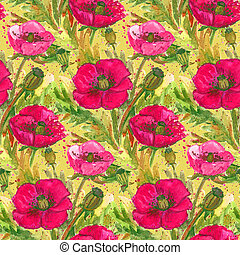 Scarlet Poppies Watercolor IllustrationWallpaper Seamless...