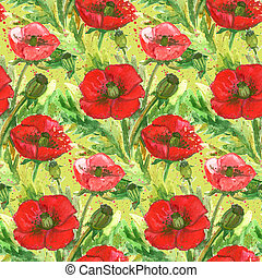 Red Poppies Flower Watercolor IllustrationWallpaper Seamless...