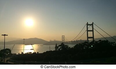 Time lapse of Tsing Ma Bridge at Summer - Tsing Ma Bridge is...