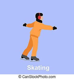 People Skating Flat Style Design