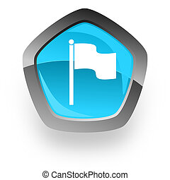 flag blue metallic chrome web pentagon glossy icon