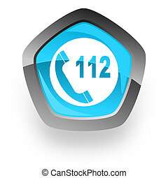 emergency call blue metallic chrome web pentagon glossy icon