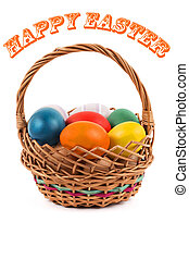 Happy easter - eggs in a basket