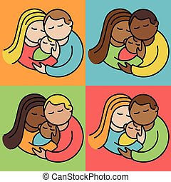 Couples With Babies - Vector illustration of multi-racial...