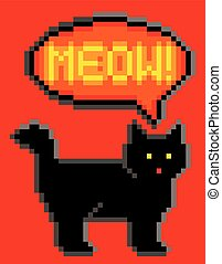 8-Bit Cat Meowing - Vector illustration of a black cat...
