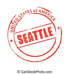 Red vector grunge stamp SEATTLE