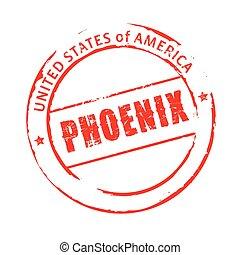 Red vector grunge stamp PHOENIX