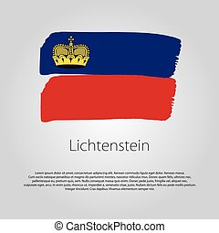 Lichtenstein Flag with colored hand drawn lines in Vector...