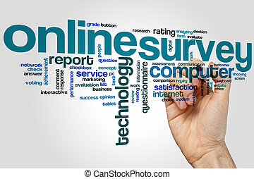 Online survey word cloud concept