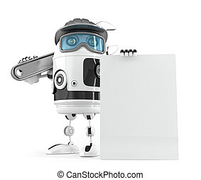 Construction robot with blank board for your ad. Isolated....