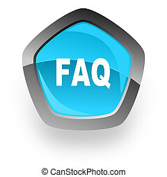 faq blue metallic chrome web pentagon glossy icon