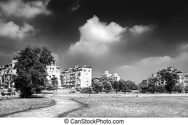 Village landscape in outdoor with dramatic black and white...