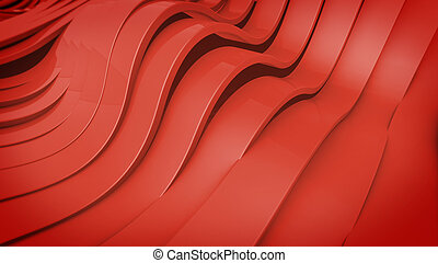 Abstract 3D Wavy band surface Red color