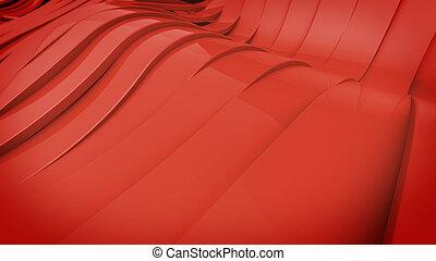 Wavy band surface - Abstract 3D Wavy band surface. Red...