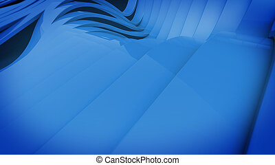 Wavy band surface - Abstract 3D Wavy band surface. Blue...