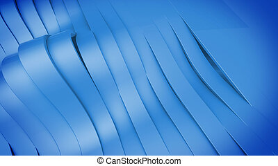 Abstract 3D Wavy band surface. Blue color.