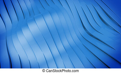 Wavy band surface - Abstract 3D Wavy band surface Blue color...