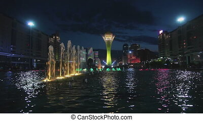 Fountain show in the Astana, Kazakhstan - Fountain night...
