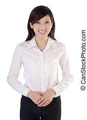 Friendly young business woman portrait on white background.