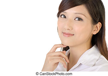 Friendly business woman portrait of Asian on white...
