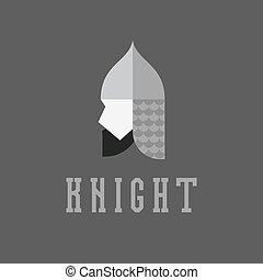 Knight head, helmet with chain mail armor, vector...