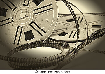 aged vintage 8mm film movie - closeup image on aged vintage...