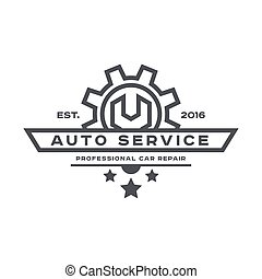 Service auto repair, wrench, logo sign flat - Service auto...