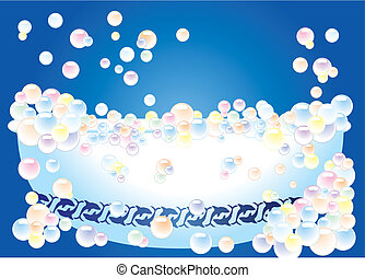 A bathtub on blue background with bubbles, vector illustration