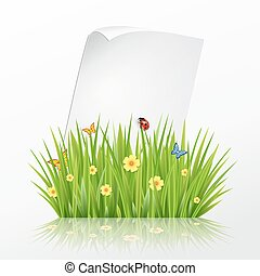 Fresh spring green grass frame template with curling  blank sheet paper