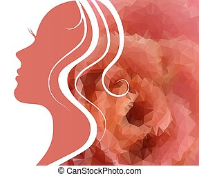 Woman and 39;s silhouette with beautiful hair - silhouette...