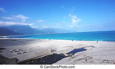 Haulien,Taiwan blue ocean mountain - Beautiful pan shot HD...