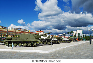 Museum of military equipment - VERKHNYAYA PYSHMA, RUSSIA -...