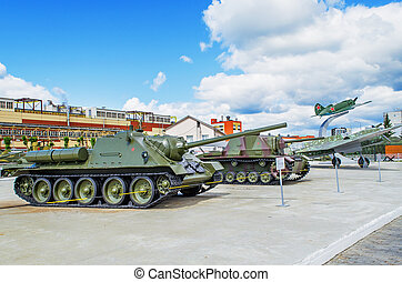The exposition of military equipment - VERKHNYAYA PYSHMA,...